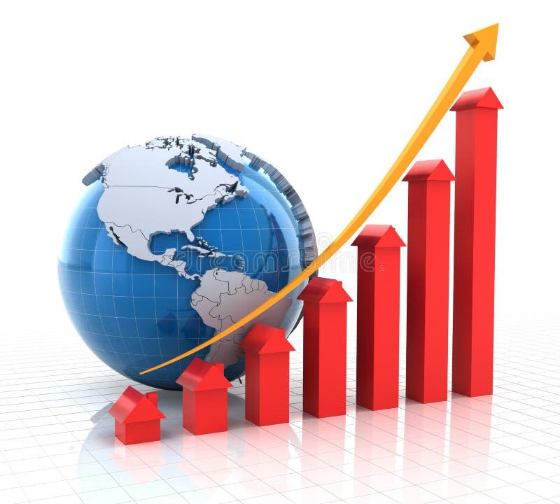 Il grafico di crescita del bene immobile con il globo, 3d rende royalty illustrazione gratis
