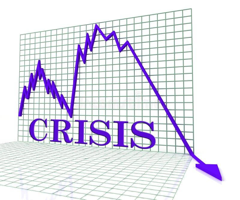 Il grafico di crisi rappresenta le difficoltà e la rappresentazione di calamità 3d illustrazione vettoriale
