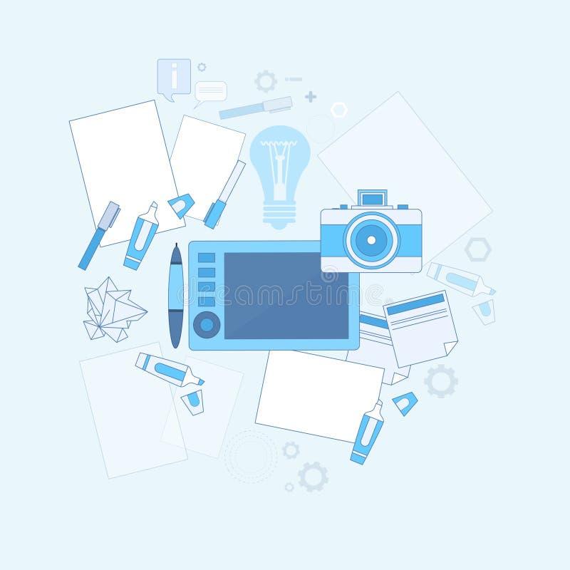 Il grafico Drawing Icon Web di idea di progettazione assottiglia la linea illustrazione vettoriale