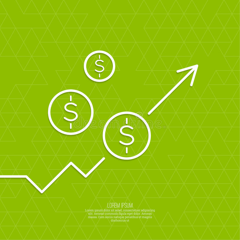 Il grafico mostra la crescita ed il profitto royalty illustrazione gratis