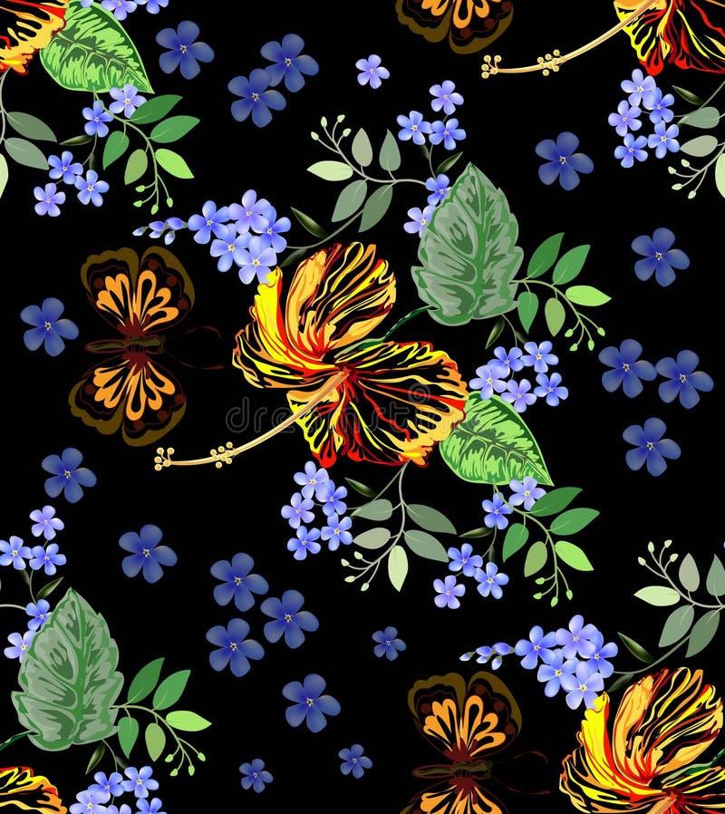 Il grafico senza cuciture, ibisco fiorisce con i fiori di myosotis e della farfalla su fondo nero, CIR dell'illustrazione di vett royalty illustrazione gratis