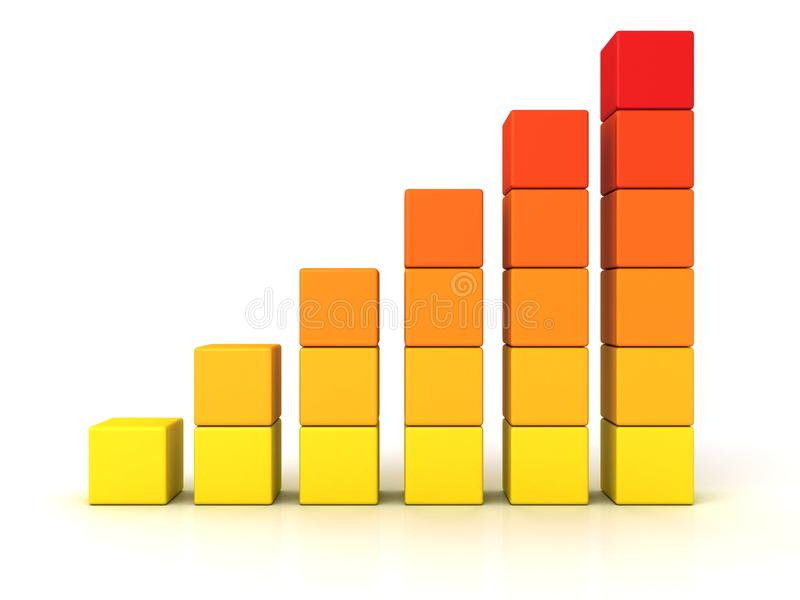Il grafico a strisce arancione di affari di successo si sviluppa in su royalty illustrazione gratis