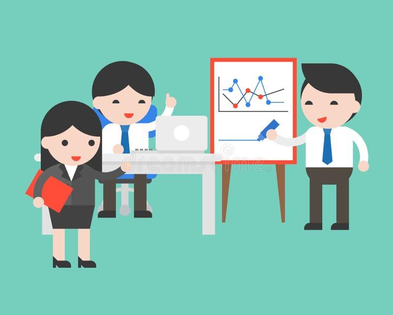 Il grafico sveglio di scrittura dell'uomo d'affari, facendo uso del computer portatile, discute e confer illustrazione vettoriale