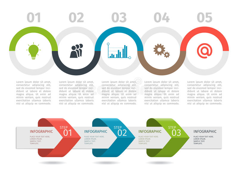 Il grafico trattato variopinto e le frecce di Infographic con aumentano le opzioni Vettore illustrazione vettoriale