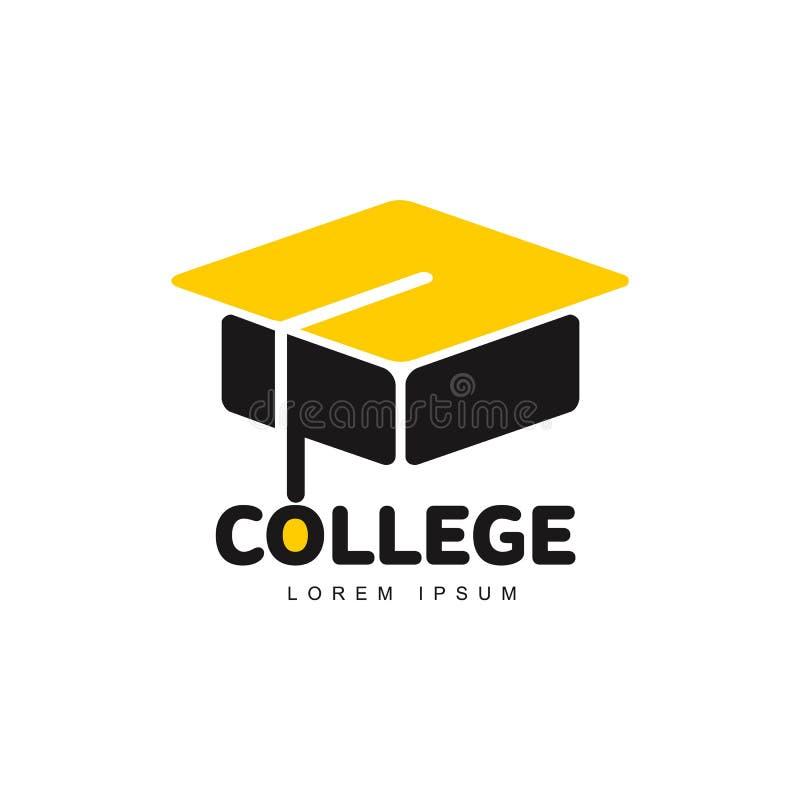 Il grafico tre ha colorato accademico quadrato, modello di logo del cappuccio di graduazione royalty illustrazione gratis