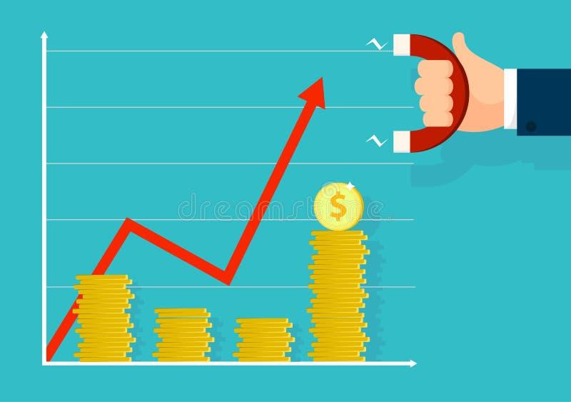 Il grafico va su L'uomo d'affari tiene il magnete ed attira la buona fortuna Il grafico di affari va verso l'alto Progettazione d illustrazione di stock