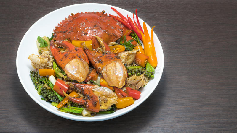Il granchio fritto con pepe nero, scalpore ha fritto il granchio con pepe nero immagini stock libere da diritti