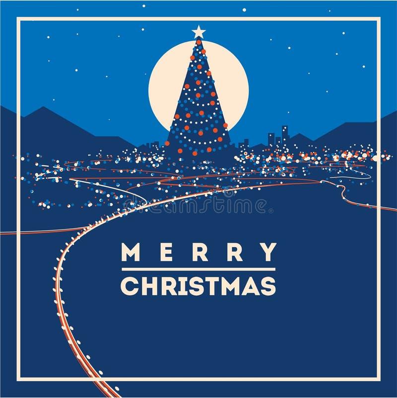 Il grande albero di Natale con la città accende l'illustrazione minimalistic di vettore
