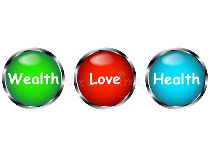 Il grande concetto della scelta con tre ha colorato i bottoni illustrazione di stock