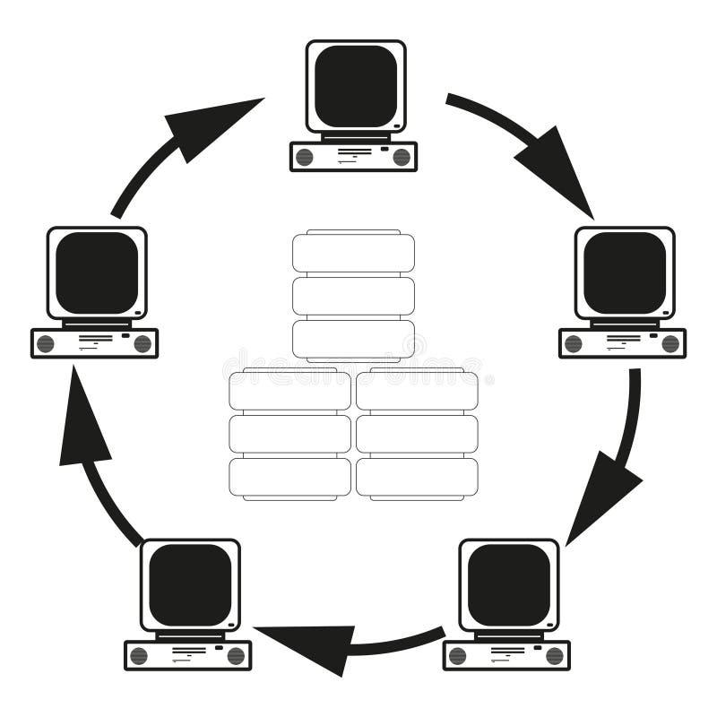 Il grande concetto di dati della comunicazione dei computer Vector l'icona nera su fondo bianco royalty illustrazione gratis