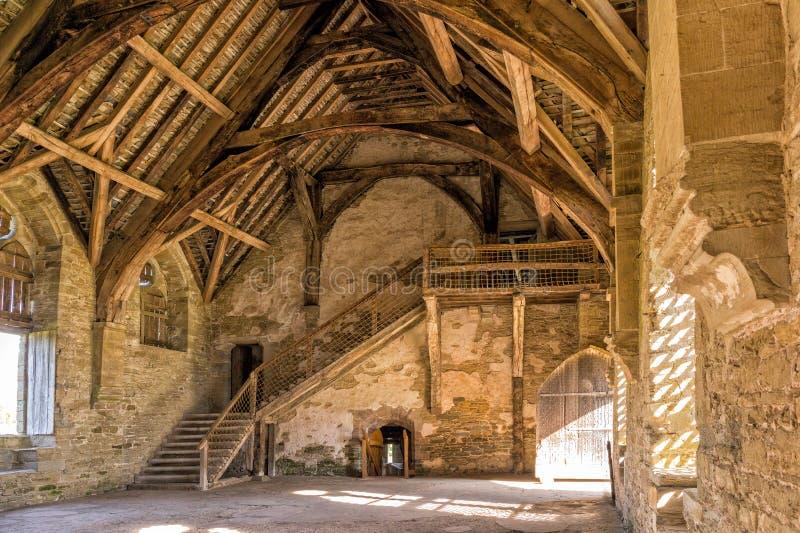Il grande corridoio, castello di Stokesay, Shropshire, Inghilterra fotografie stock