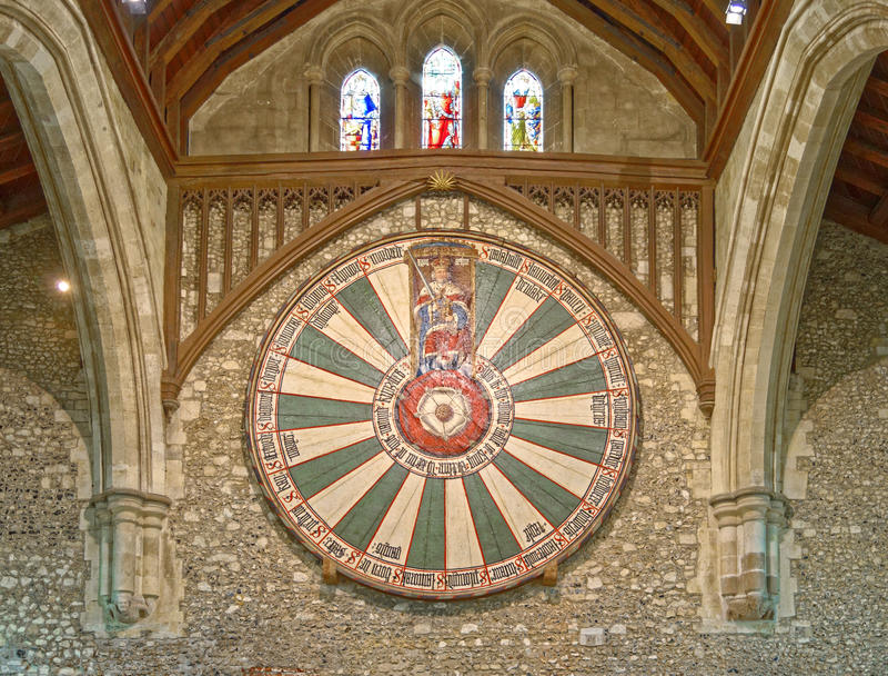 Il grande corridoio del castello di Winchester nel Hampshire, Inghilterra fotografia stock