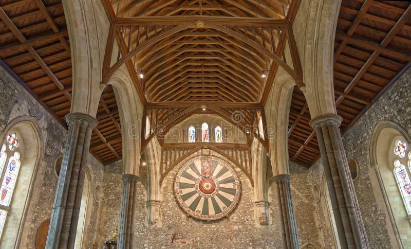 Il grande corridoio del castello di Winchester nel Hampshire, Inghilterra immagini stock libere da diritti