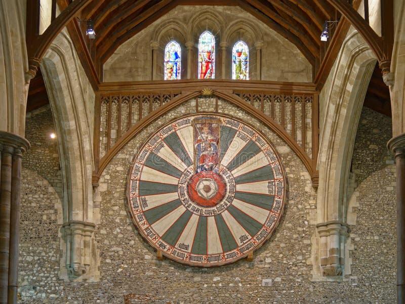 Il grande corridoio del castello di Winchester nel Hampshire, Inghilterra immagini stock