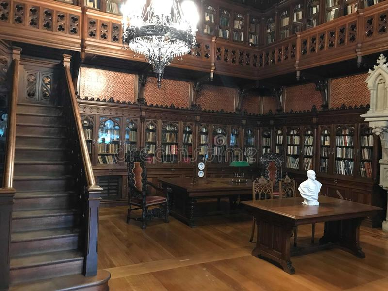 Il grande corridoio della biblioteca storica di Mosca fotografia stock