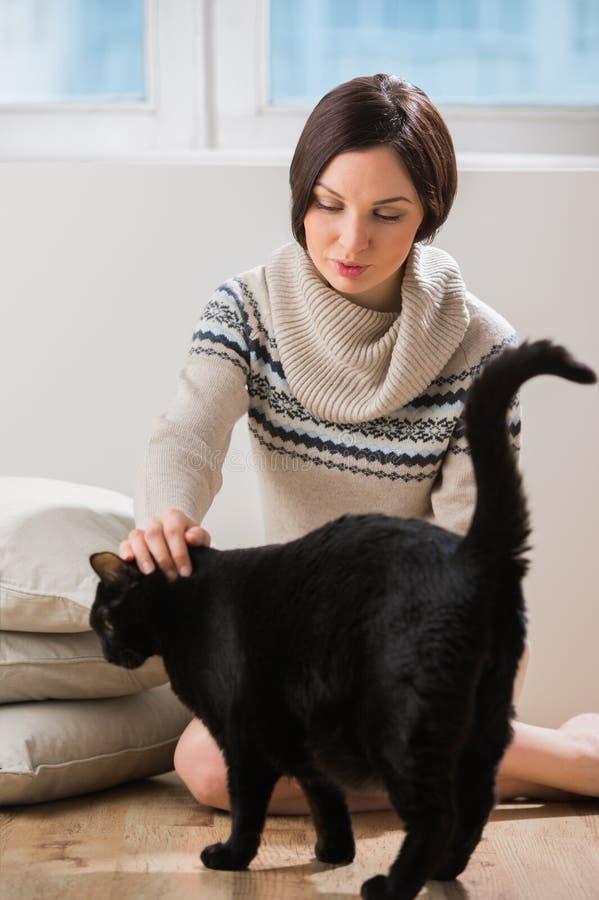 Il grande gatto nero viene al suo proprietario ad ottenere una certa cura immagini stock
