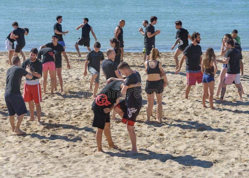 Il grande gruppo di giovani, ragazze e ragazzi, è impegnato nel lottare sulla spiaggia fotografia stock libera da diritti