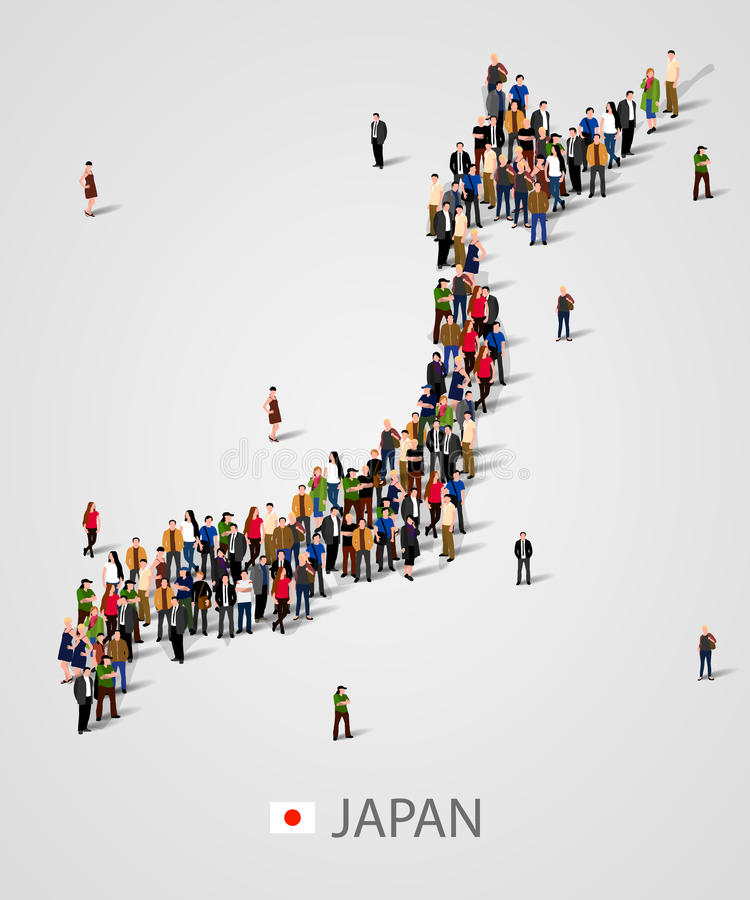 Il grande gruppo di persone nella mappa del Giappone si forma Priorità bassa per la presentazione royalty illustrazione gratis