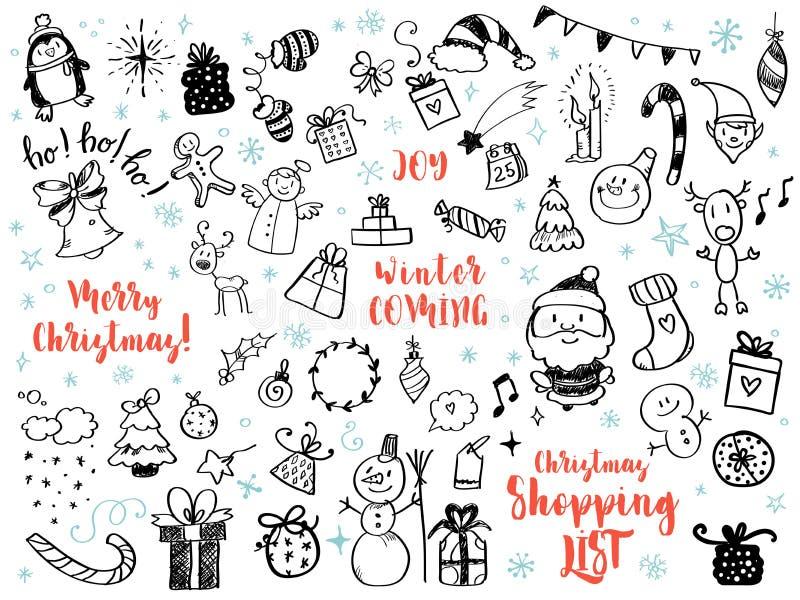 Il grande insieme del Natale progetta l'elemento nello stile di scarabocchio illustrazione vettoriale