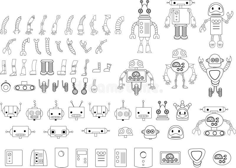 Il grande insieme del robot differente parte in bianco e nero illustrazione vettoriale