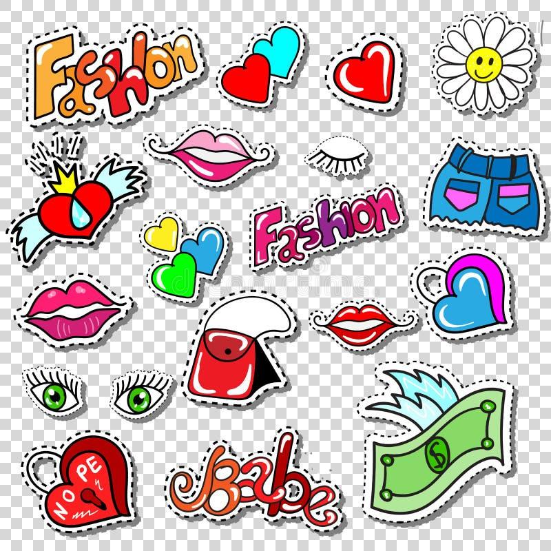 Il grande insieme della toppa di stile dei fumetti di modo della ragazza Badges illustrazione di stock