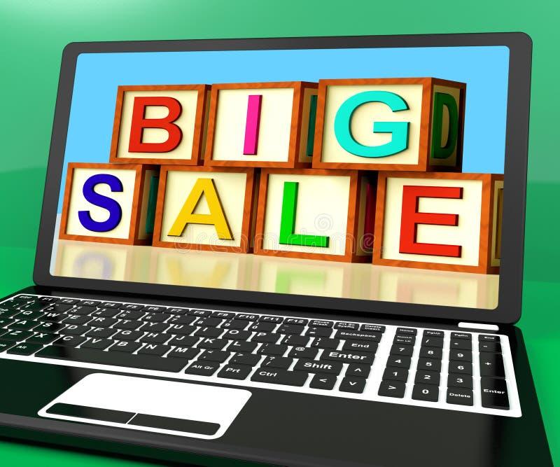 Il grande messaggio di vendita sul computer portatile mostra gli sconti online illustrazione di stock