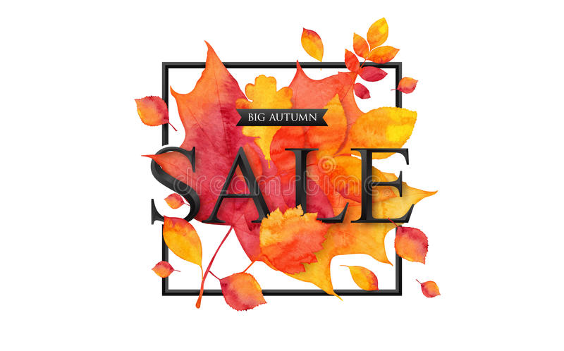 Il grande nero di stile di VENDITA 3d di autunno firma dentro la struttura quadrata sul fondo ardente delle foglie illustrazione di stock