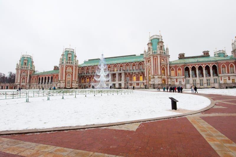 Il grande palazzo nella riserva del museo e del parco di Tsaritsyno immagine stock libera da diritti