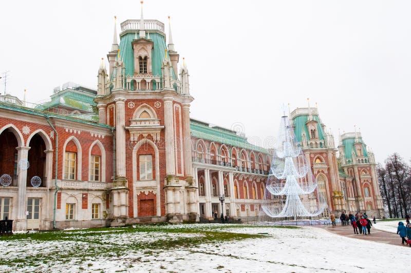 Il grande palazzo nella riserva del museo e del parco di Tsaritsyno fotografia stock