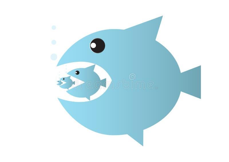 Il grande pesce mangia il piccolo pesce, ciclo alimentare o concetto di affari di assorbimento royalty illustrazione gratis