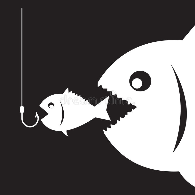 Il grande pesce mangia poco pesce illustrazione di stock