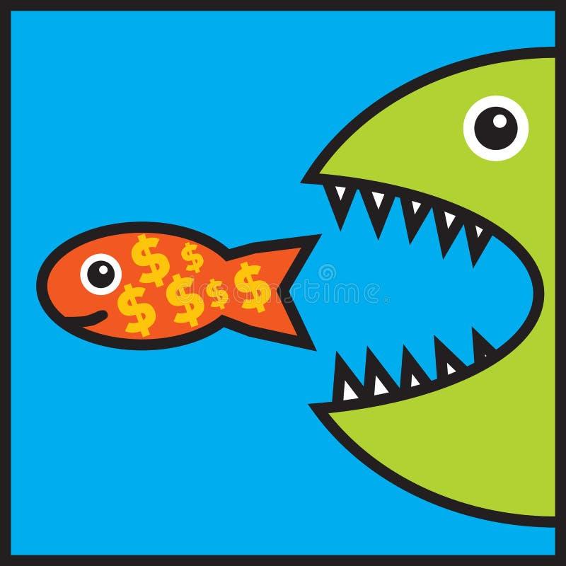 Il grande pesce sta mangiando i piccoli pesci con i segni del dollaro illustrazione di stock