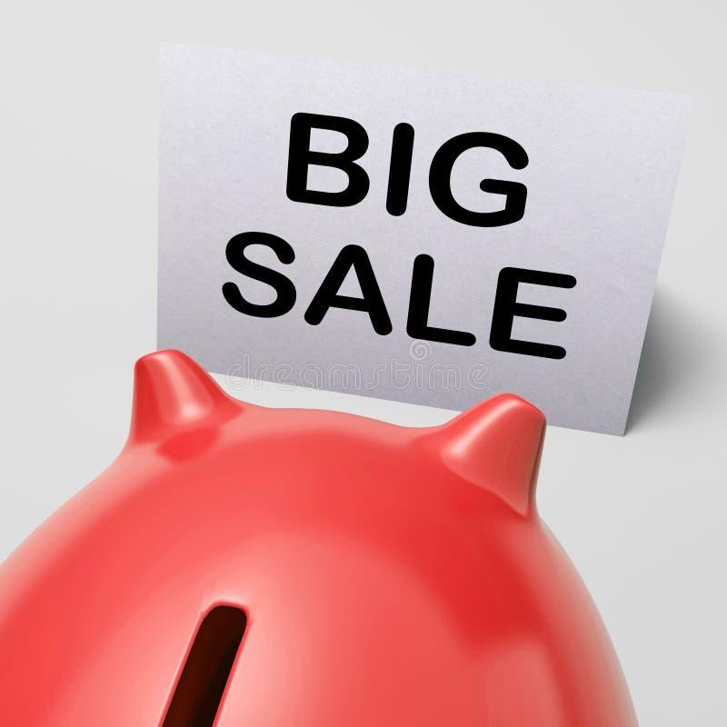 Il grande porcellino salvadanaio di vendita mostra il prezzo tagliato royalty illustrazione gratis