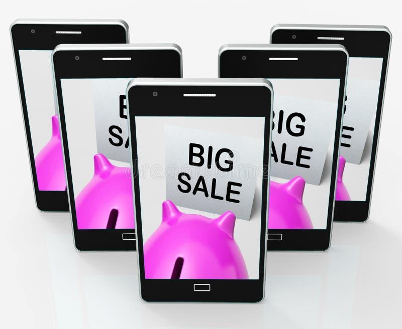 Il grande porcellino salvadanaio di vendita mostra il prezzo tagliato illustrazione vettoriale