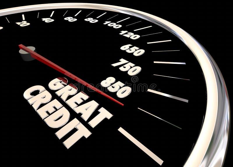 Il grande rapporto del punteggio di credito migliora il tachimetro 3d Illust di aumento illustrazione di stock