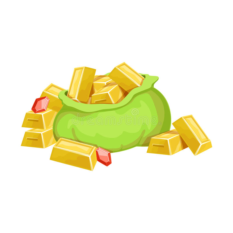 Il grande sacco con le barre ed i rubini dorati, il tesoro nascosto e le ricchezze per ricompensa nel flash sono venuto la variaz illustrazione vettoriale