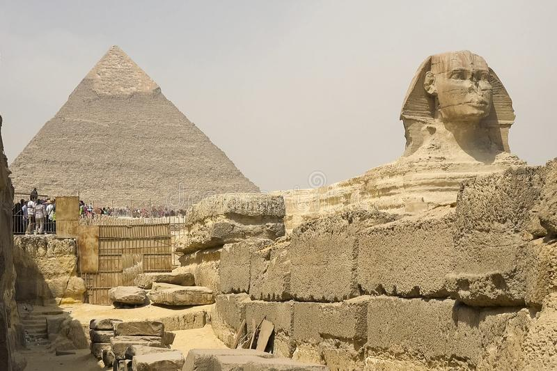 Il grande Sphinx Sphinx egiziano La settima meraviglia del mondo Megaliti antiche fotografia stock
