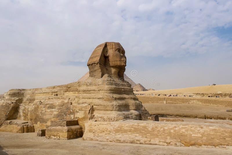 Il grande Sphinx Sphinx egiziano La settima meraviglia del mondo Megaliti antiche immagini stock libere da diritti