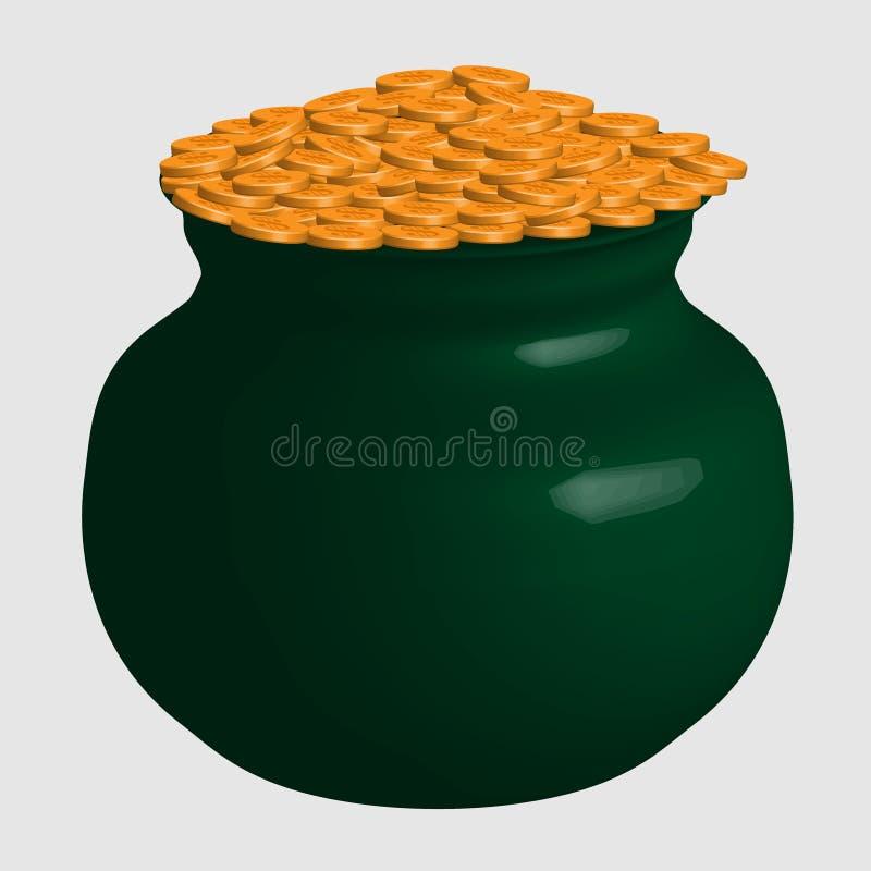 Il grande vaso verde di divertimento con le monete di oro ha isolato illustrazione vettoriale