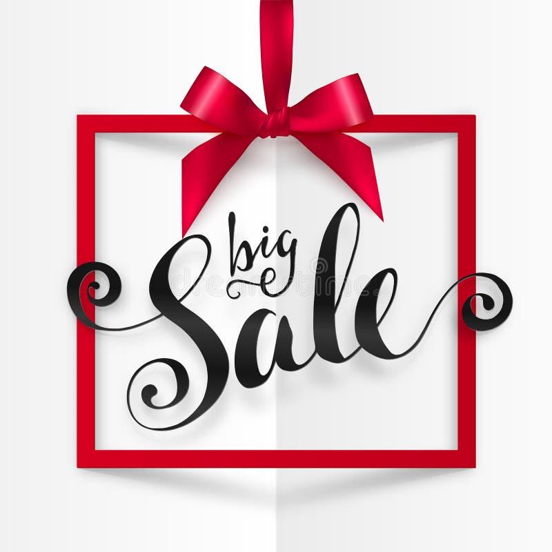 Il grande vettore di vendita calligrafico firma dentro la struttura del quadrato rosso che appende sul nastro serico con l'arco illustrazione di stock