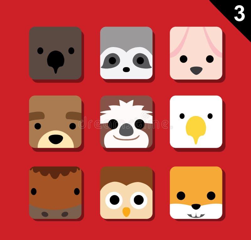 Il grande vettore piano del fumetto dell'icona dell'applicazione dei fronti dell'animale ha messo 3 (US) illustrazione di stock