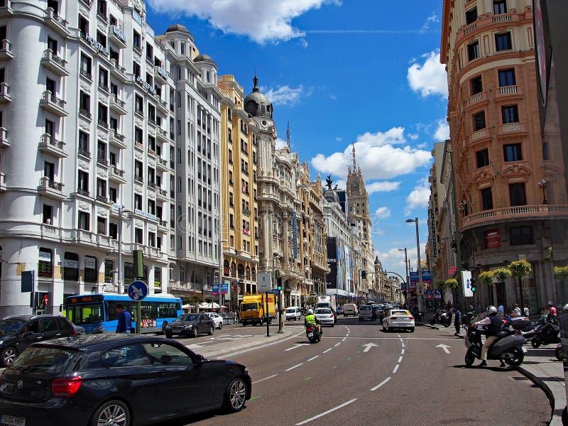 Il grande via, Madrid centrale, Spagna fotografia stock libera da diritti
