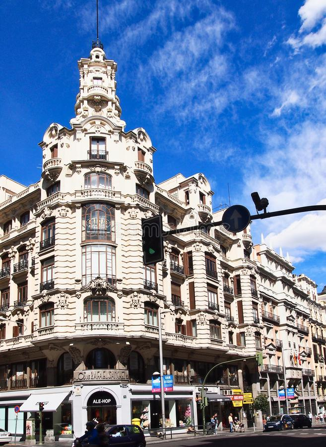 Il grande via, Madrid centrale, Spagna fotografia stock