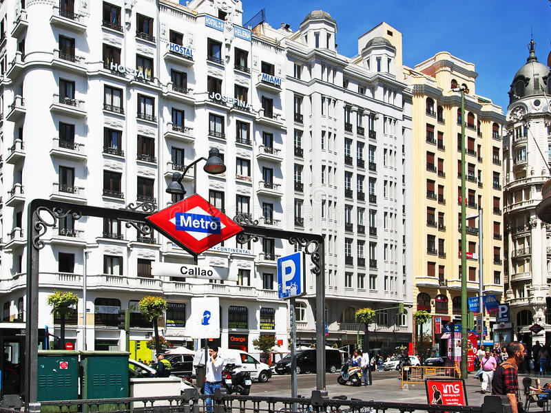 Il grande via, Madrid, Spagna immagini stock