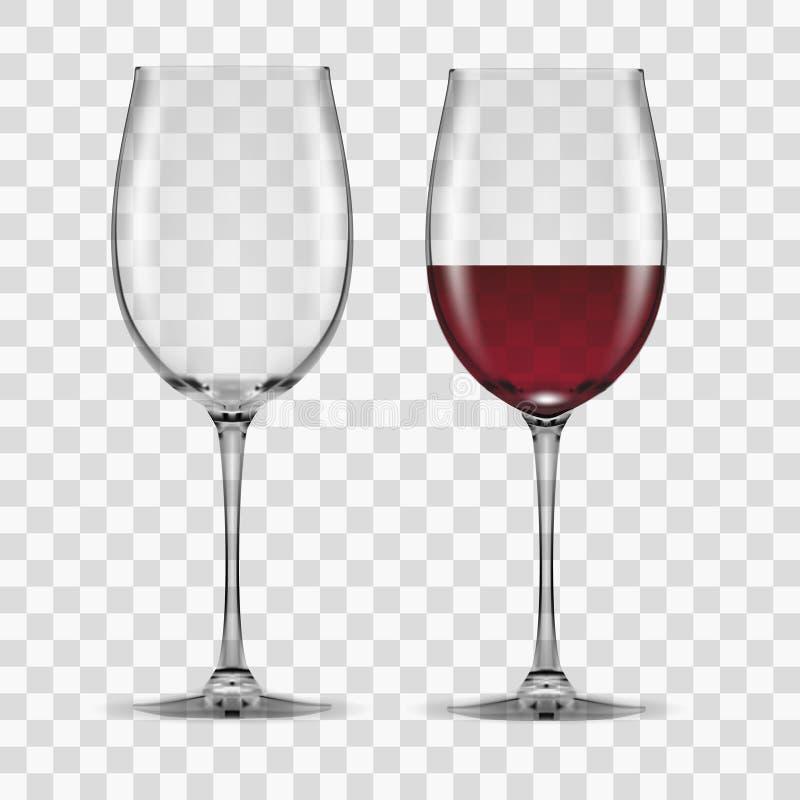 Il grande vino rosso di vetro svuota e nessuno illustrazione di stock