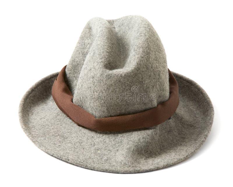 Fedora del feltro di Grey con il hatband marrone immagini stock libere da diritti