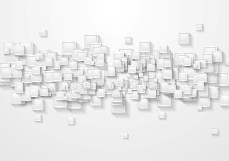 Il Grey quadra il fondo astratto di tecnologia illustrazione di stock