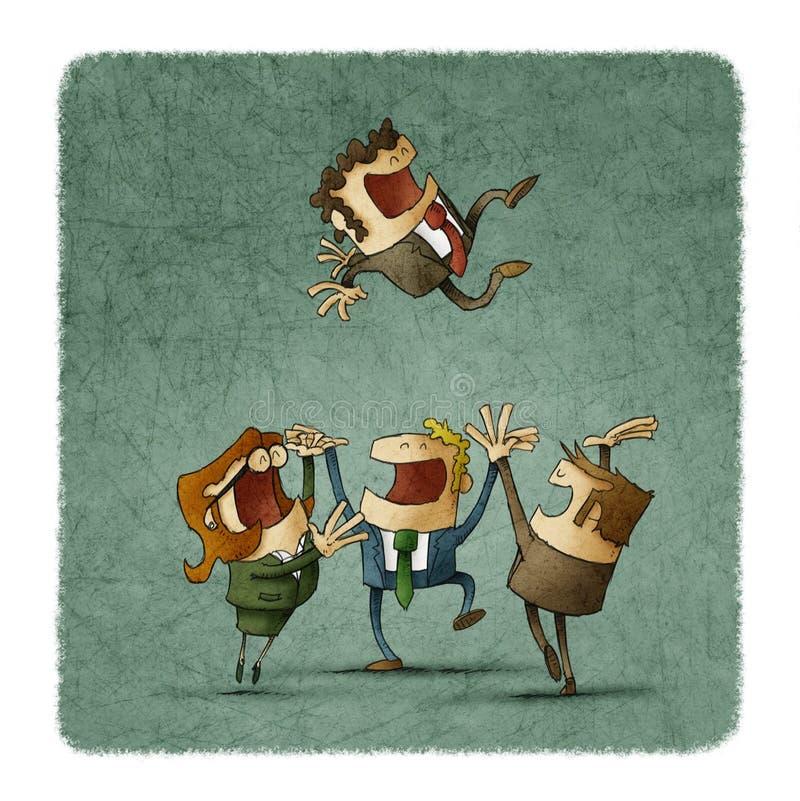 Il gruppo celebra gettando il capo su illustrazione vettoriale