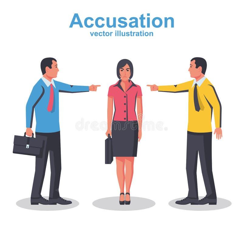 Il gruppo degli impiegati indica il dito alla donna colpevole illustrazione vettoriale