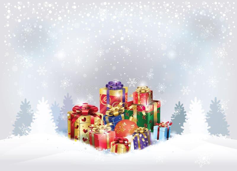 Il gruppo dei contenitori di regalo di Natale presenta il paesaggio di vacanza invernale royalty illustrazione gratis
